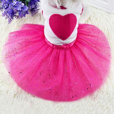 Pet Dog Love Heart Sequins Gauze Tutu Dress Skirt Puppy Cat Rose Red Clothes 04b4be1710f7