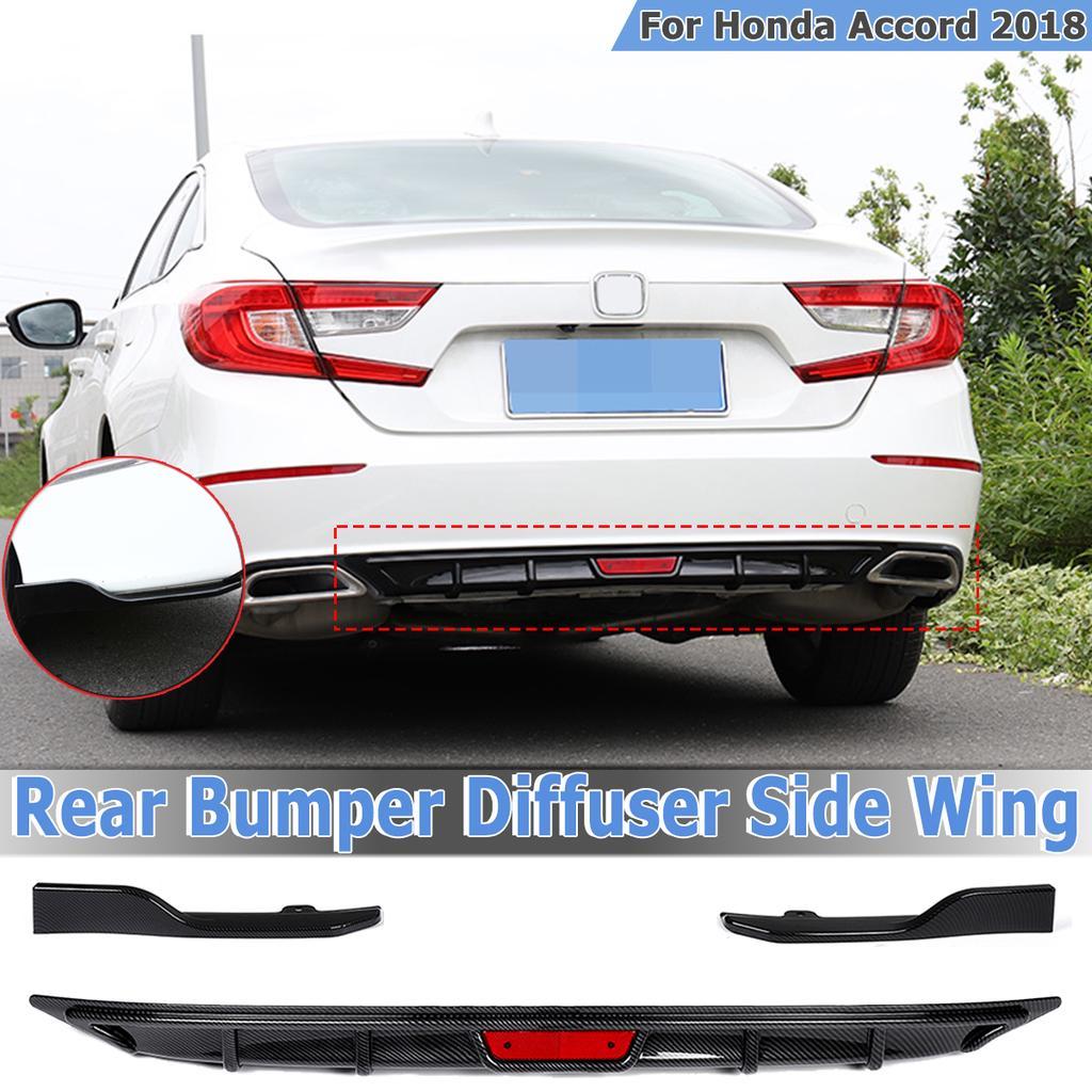 Rear Bumper Lip Diffuser Spoiler /& Side Wings For Accord 2018-2019 Carbon Fiber