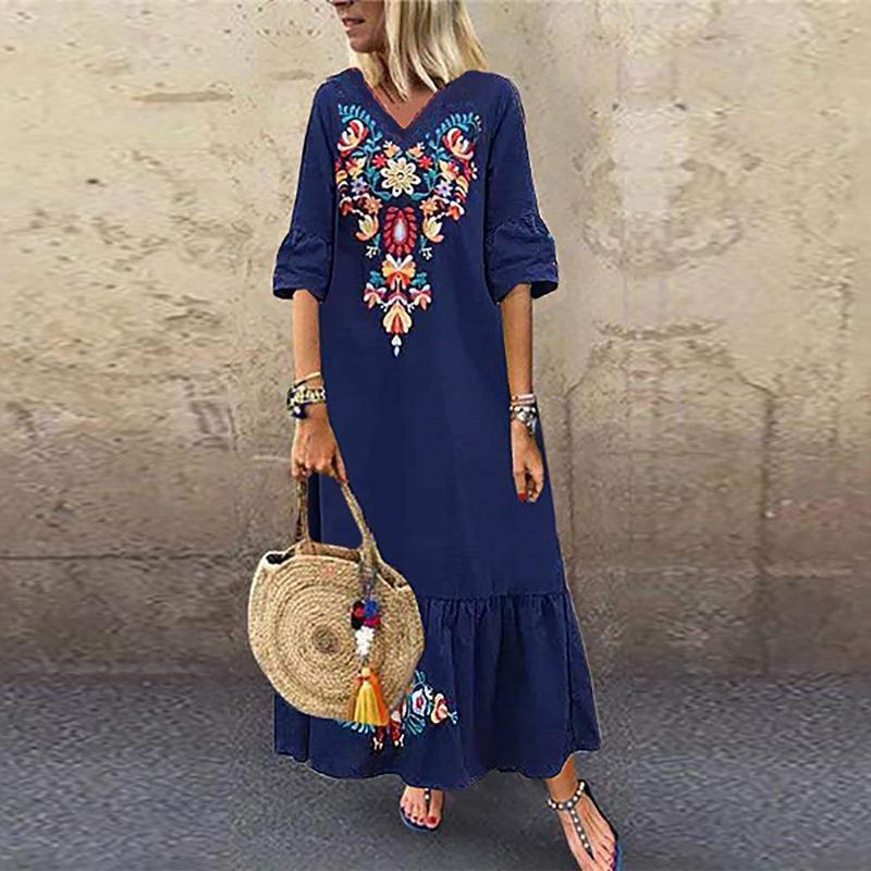 ZANZEA Women Bohemia Floral Printed Long Dress Casual Loose Baggy Kaftan Dresses