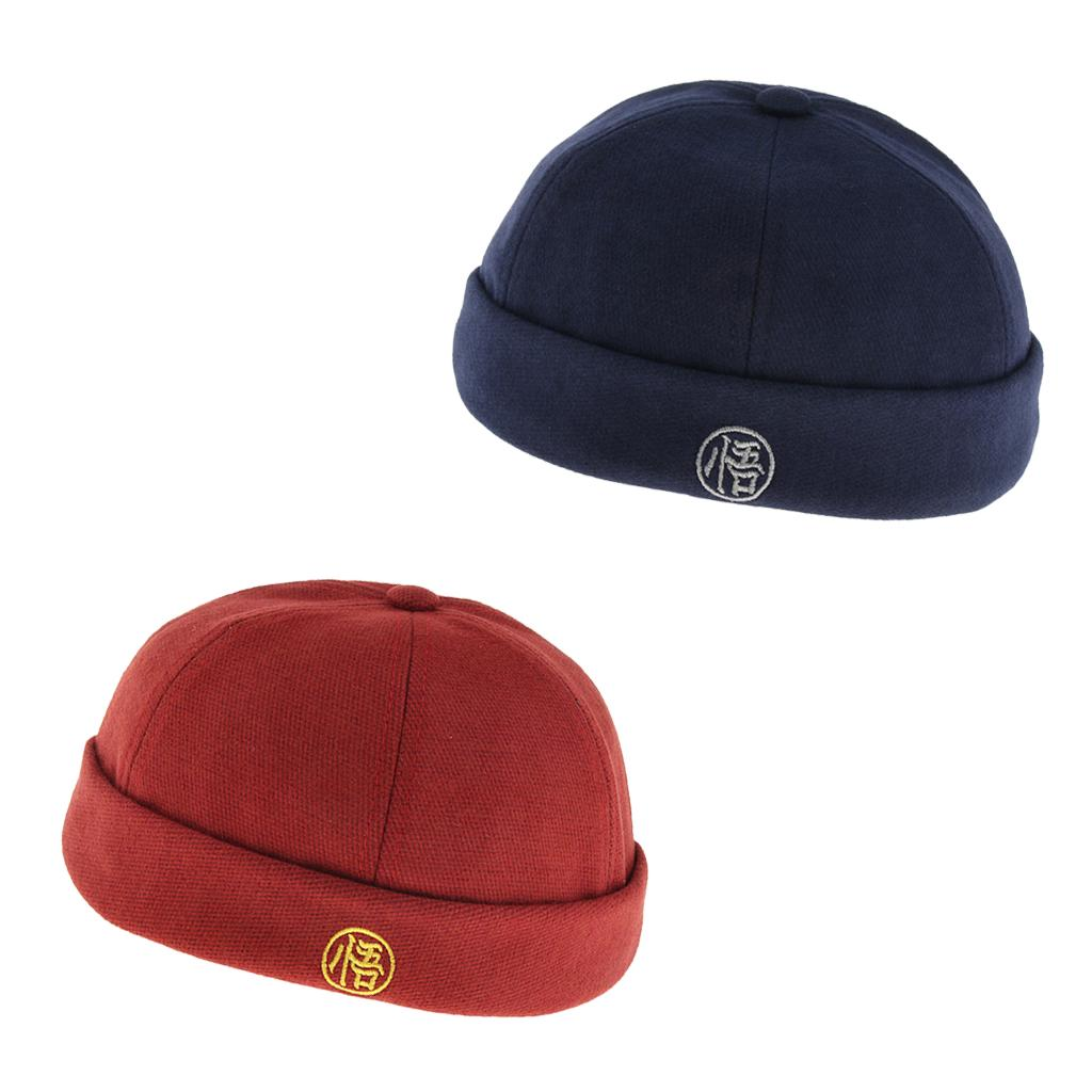 Men/'s Vintage Chinese Style Rolled Cuff Skull Cap Brimless Beanie Hat Navy