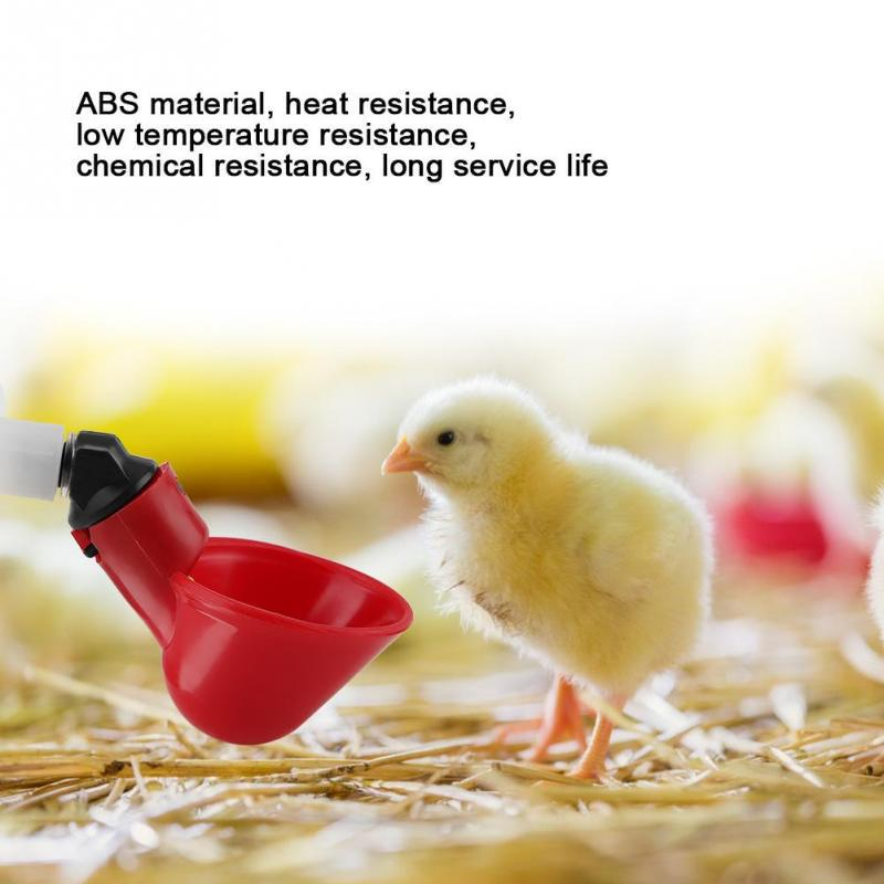 5Pcs Automatic Plastic Chicken Drinker Cups Poultry Waterer Water Drinking Dispenser Cups Bowls Water Drinker Tool for Bird Quail Pigeon Chicken Hen 0.7in
