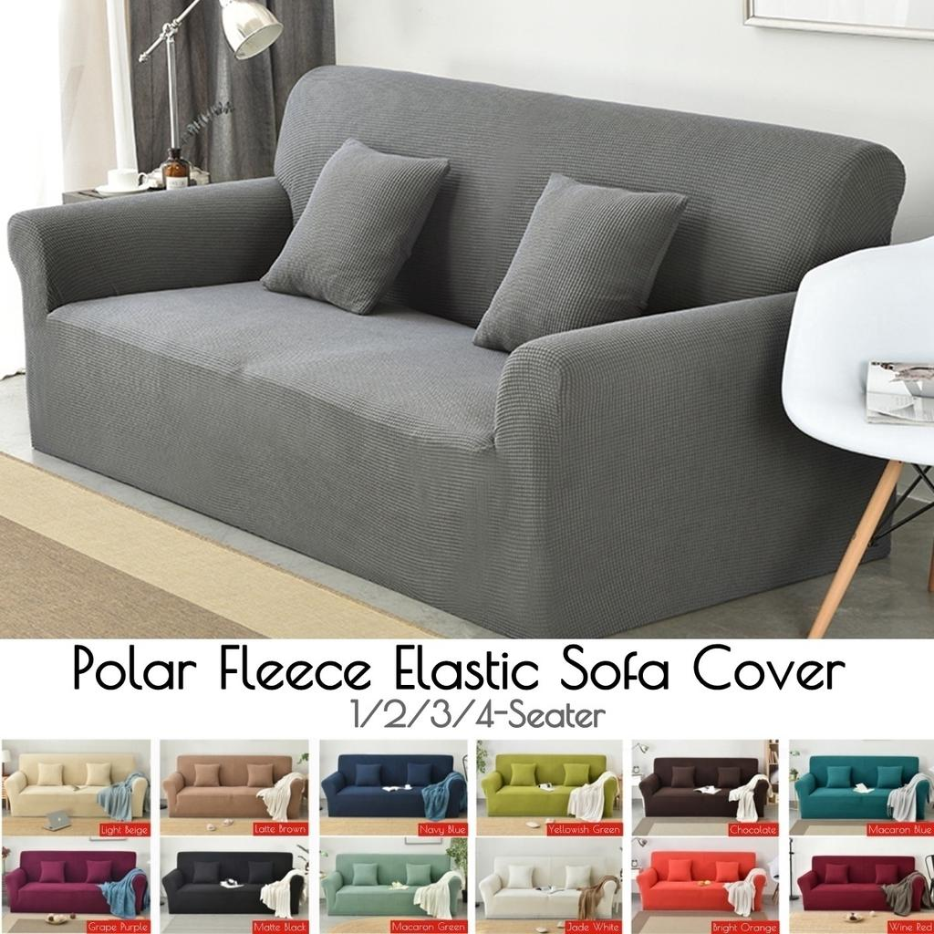 Solid Color Elastic Sofa Cover Spandex All-inclusive 1234 Seater Couch Slipcover