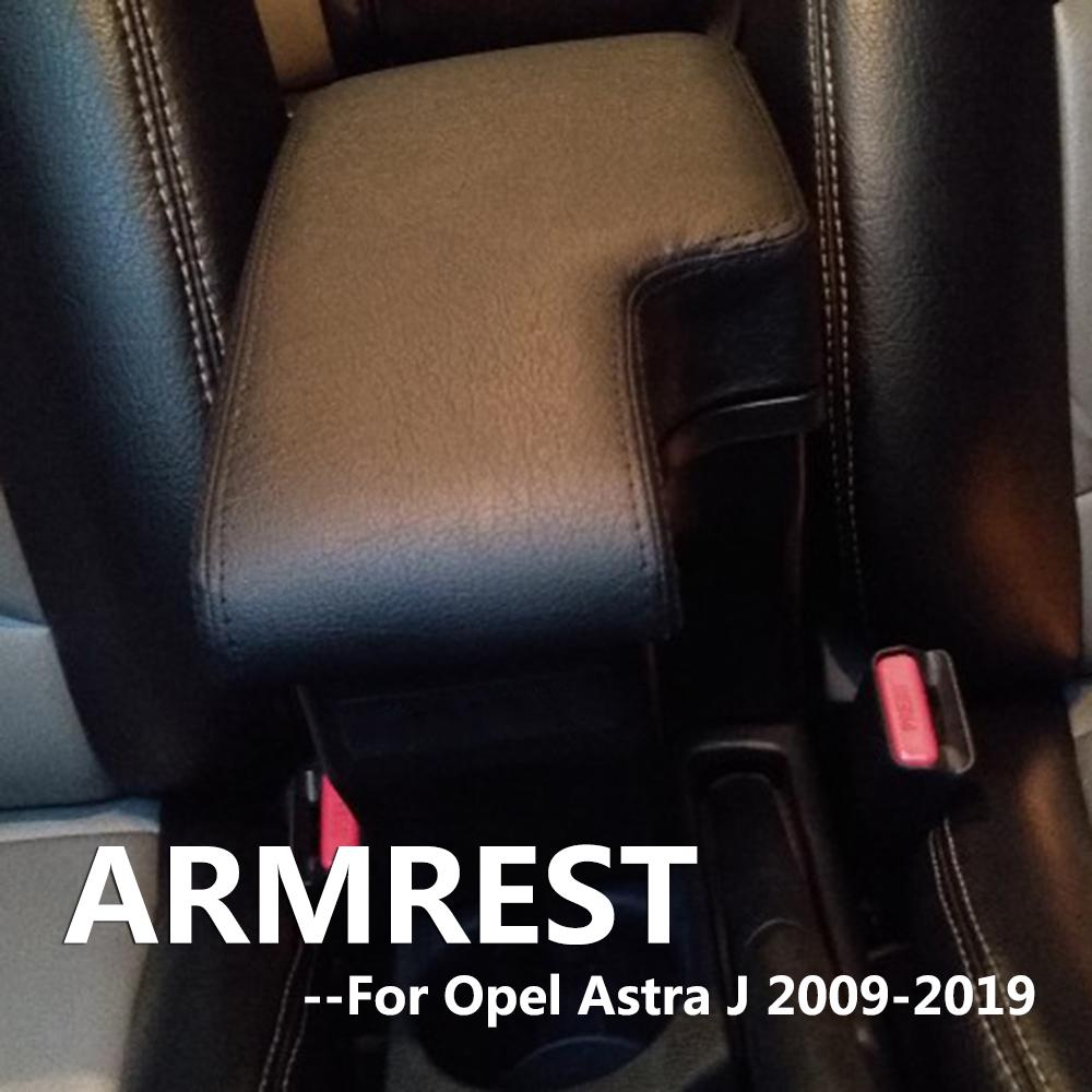 Dual-Layer Black Leather Arm Rest For Astra J 2009-Present Centre Console Storage Box Armrest