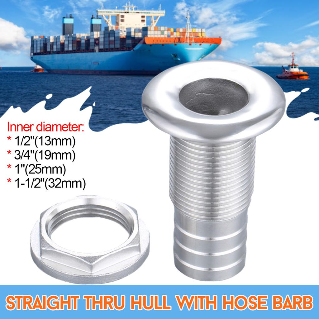 1//2 Inch Stainless Steel Thru-Hull Hose Fitting for Boats