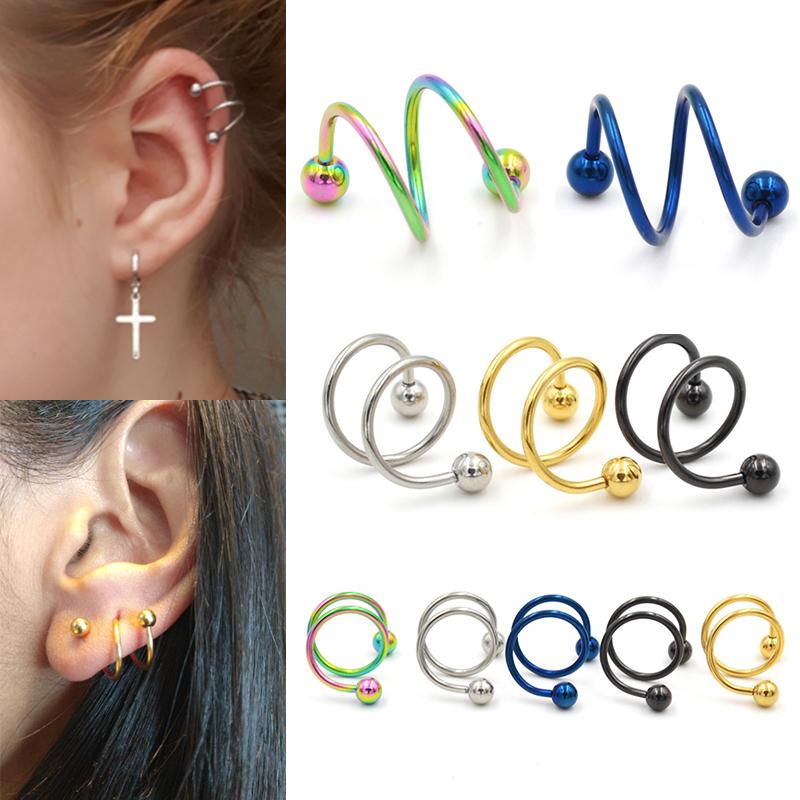 8Pcs Fashion Mixed Colors Labret Stud Bar Lip Ring Ear Piercing Punk Jewelry
