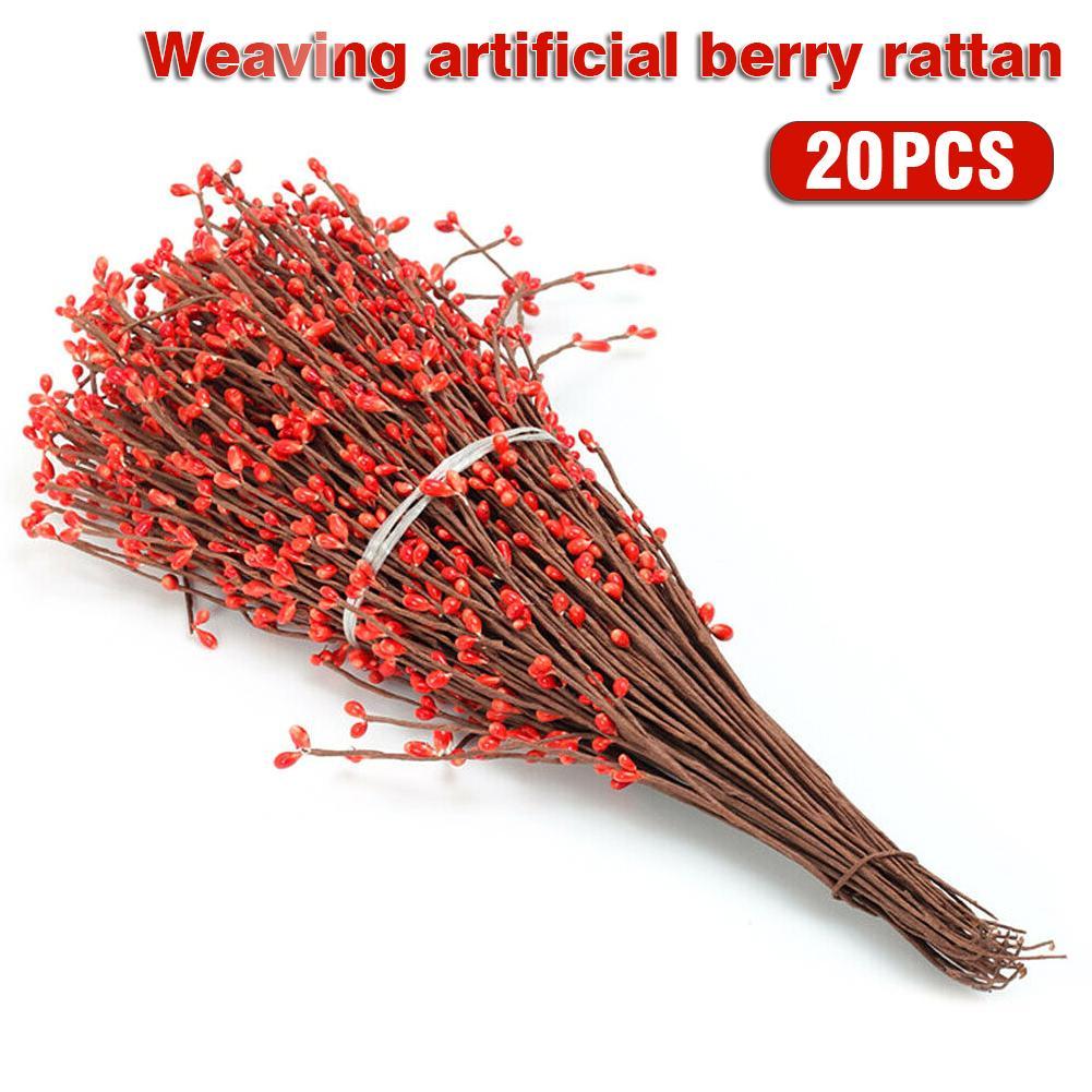 20pcs Artificial Berry Spray Stem Of Faux Berries Autumn Christmas Decor
