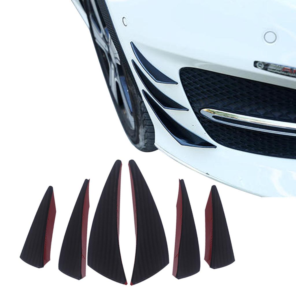 6 Pcs High Quality Black Carbon Fiber Color Car Front Bumper Fins Spoiler Refit