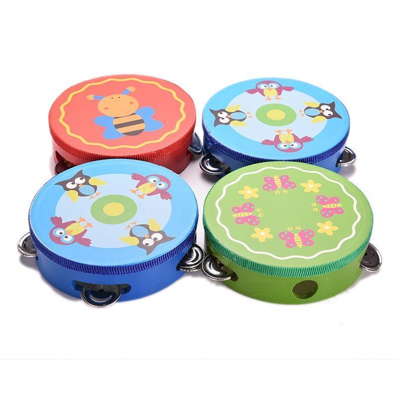 Bebé de madera musical juguetes tambor sonajeros juguete pandereta