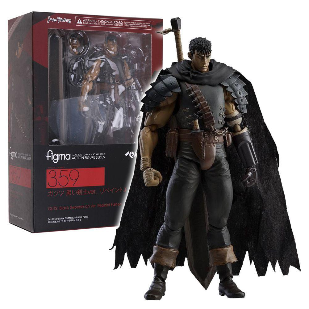 In Box Figma 359 Berserk Guts Black Swordsman Ver Action Figurine Statue Toy