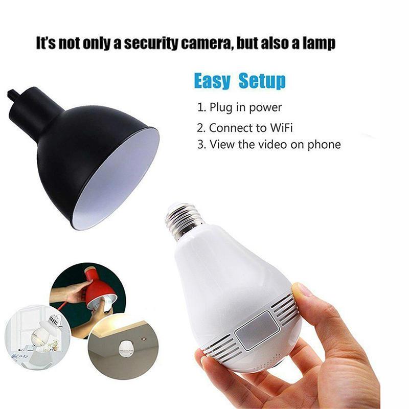 Wifi camera wireless wifi remote network home 360 degree light bulb probe  smartphone E27