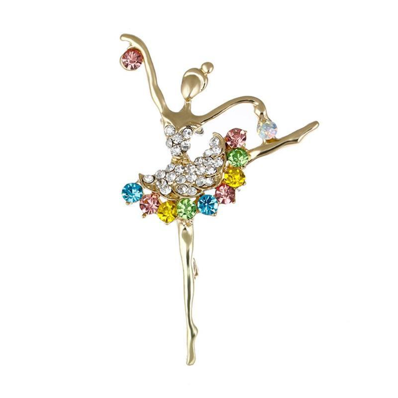 Танцы балета балерина брошь Pin ясно AB кристалл Silvertone моды фото