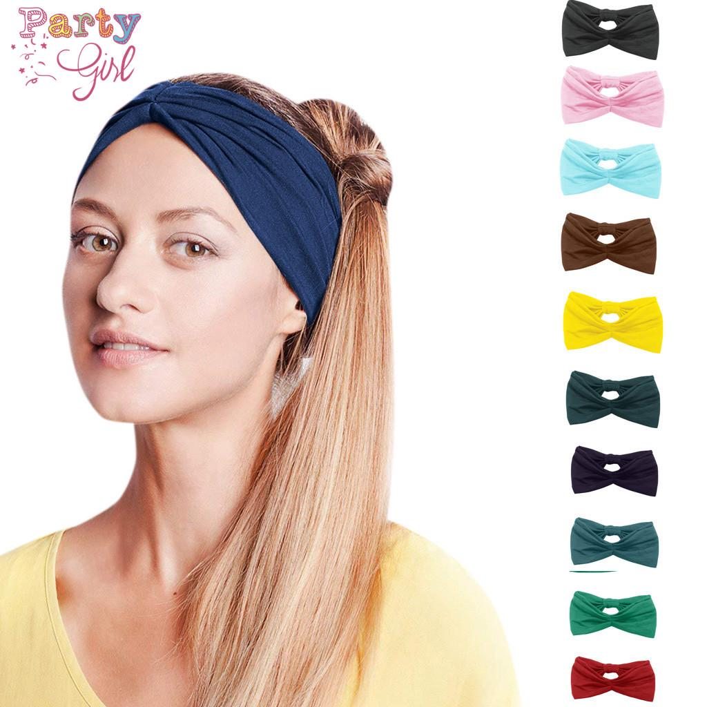 Turban Wide Brim Floral Print Cross Knot Hair Band Sport Yoga Headband Headwear