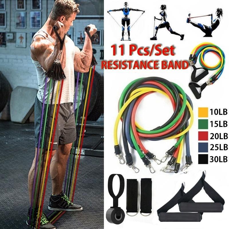 Resistance Band Set Strength Exercise Fitness Thai Box Yoga Pilates Tube Workout