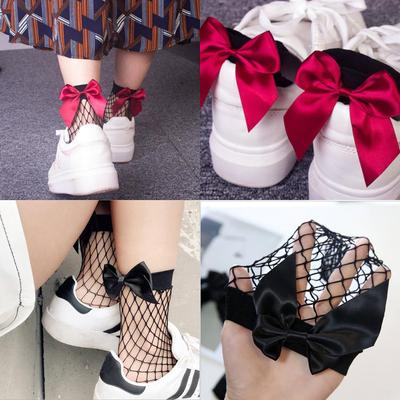 Fashion Women Ruffle Fishnet Ankle High Socks Mesh Lace Fish