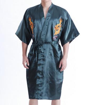c05e43de7e Summer New Chinese Men s Gown Robe Satin Traditional Embroider Dragon  Kimono Bath Size S M L XL XXL
