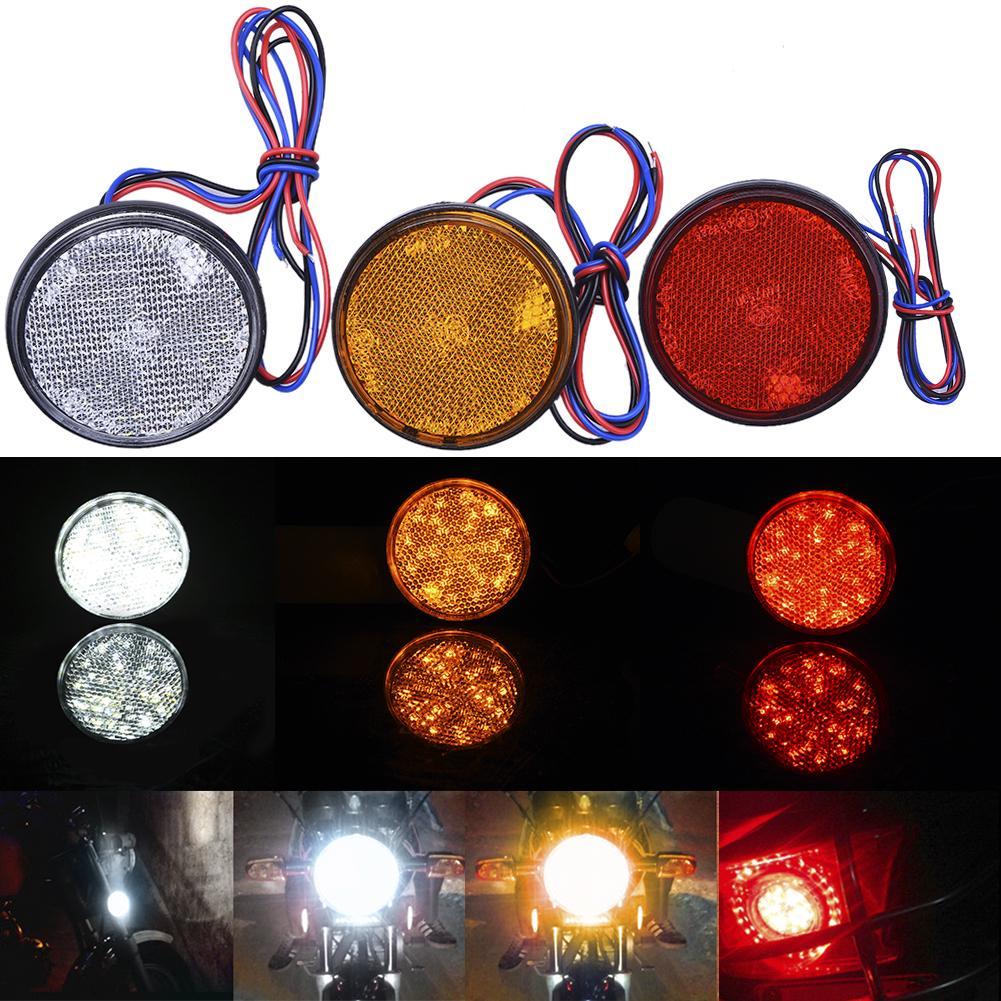 Jaune 2pcs moto double face LED clignotant voyant