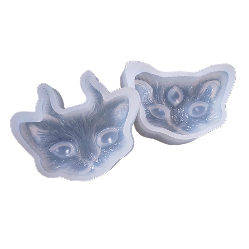 Crystal Epoxy Mould DIY Jewelry Three-eyed With Angle Cat Head Silicone Mold