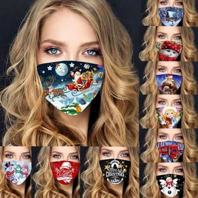 Christmas Printed Dustproof Cotton Mask Outdoor Sports Mask Holiday Mask For Christmas