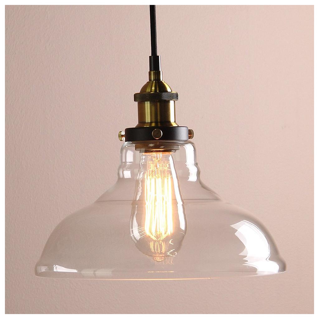 Vintage Ambar Industrial hierro cuerpo sombra Loft lámparas de ...