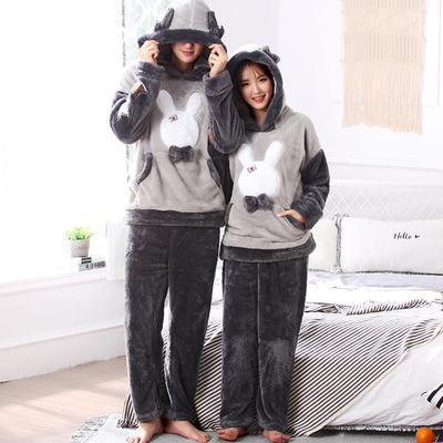e0c08250fe72 Winter Couples Thick Soft Flannel Pajama Sets for Women Long Sleeve Hooded  Warm Pyjama Men Kawaii