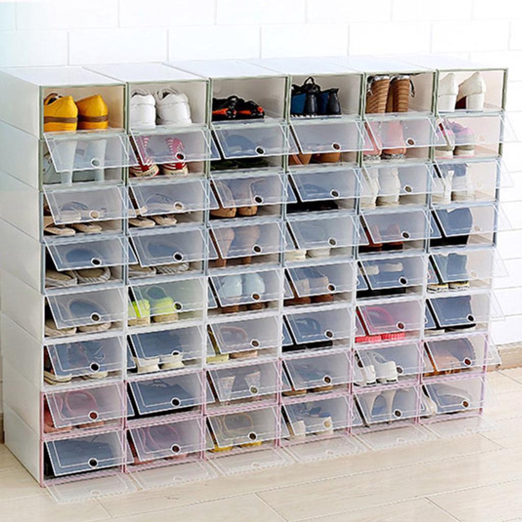 Durable Plastic Drawer Boxes Case Transparent Shoes Box Home Organizer Ll