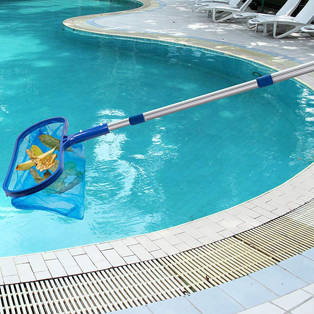 Swimming Pool Deep Leaf Net Cleaning Skimmer Telescopic Pole Brush Accessories