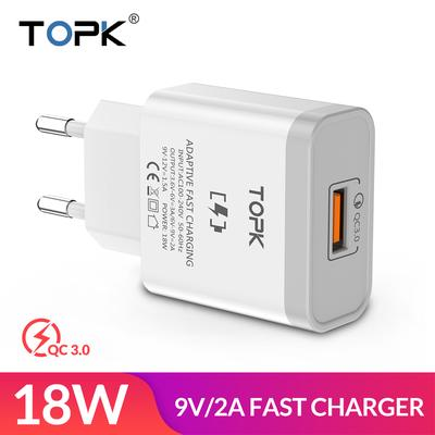 TOPK 18W Quick Charge 3 0 Fast Mobile Phone Charger EU Plug Wall USB  Charger Adapter for Samsung Galaxy S8/S8+ Xiaomi Huawei