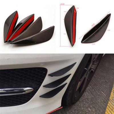 Carbon Fiber Front Bumper Lip Splitter Fins Body Spoiler Canard Valence Chin Set