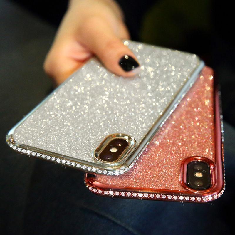 Стразами блеск телефон случай для IPhone 6 6s плюс 7 8 плюс X XS XR XM Мягкий ТПУ протектора алмаз