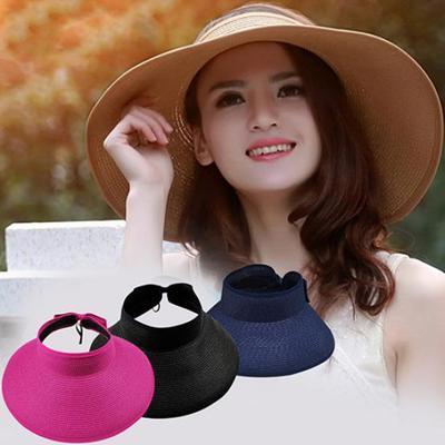 47d3977a30d97 Girl Lady Beach Sun Visor Foldable Roll Up Fashion Wide Brim Straw Hat Cap