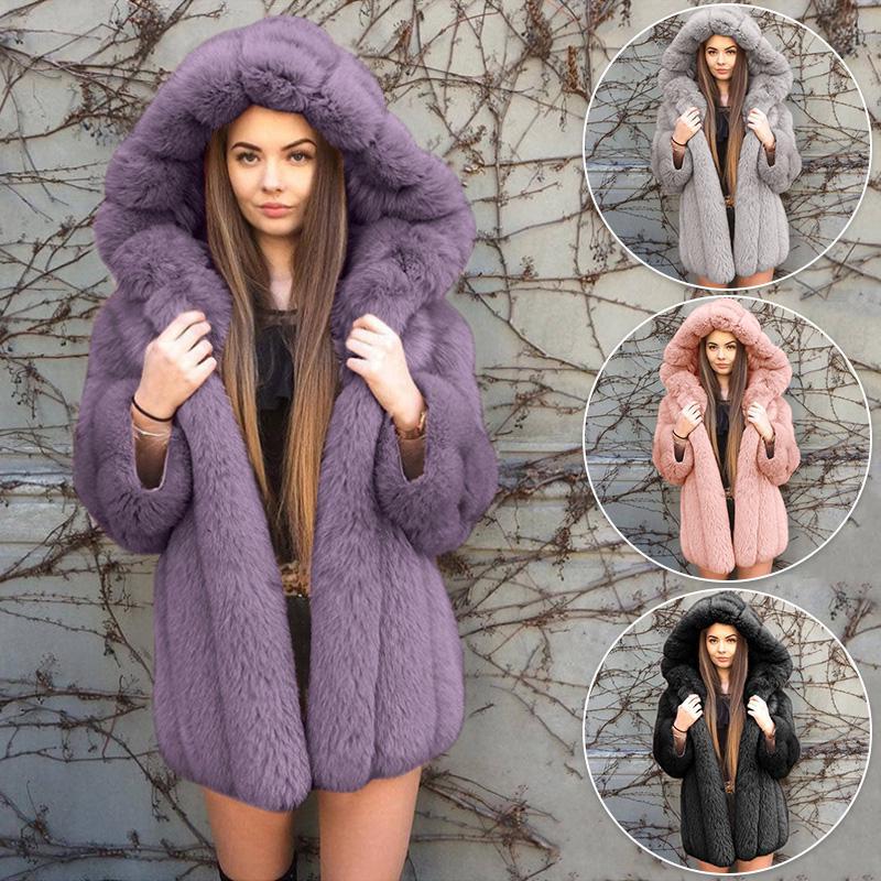 Женщины Thicken Длинный рукав Faux Шубы Плюшевый Пушистый куртка с капюшоном Outwear Loose случайные дамы – купить по низким ценам в интернет-магазине Joom