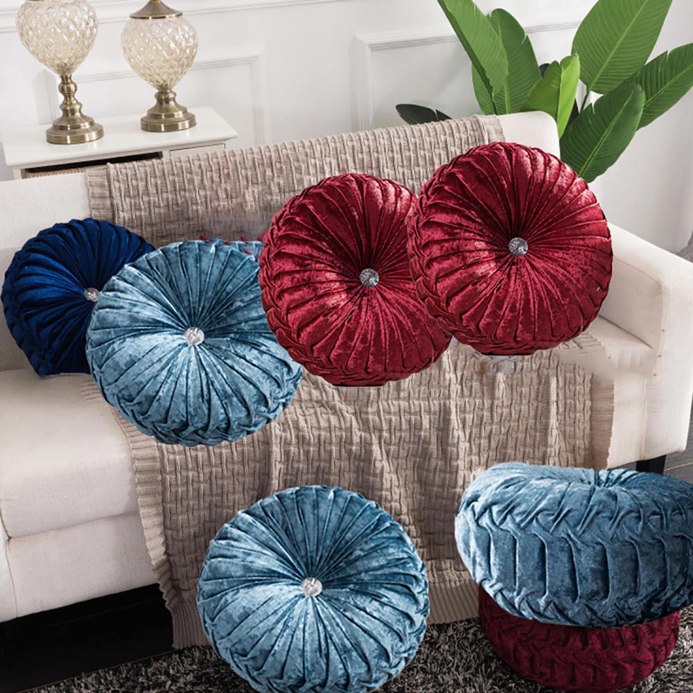 Round Velvet Cushion Seat Home Decor Couch Pumpkin Pillow Floor Cushion Pad