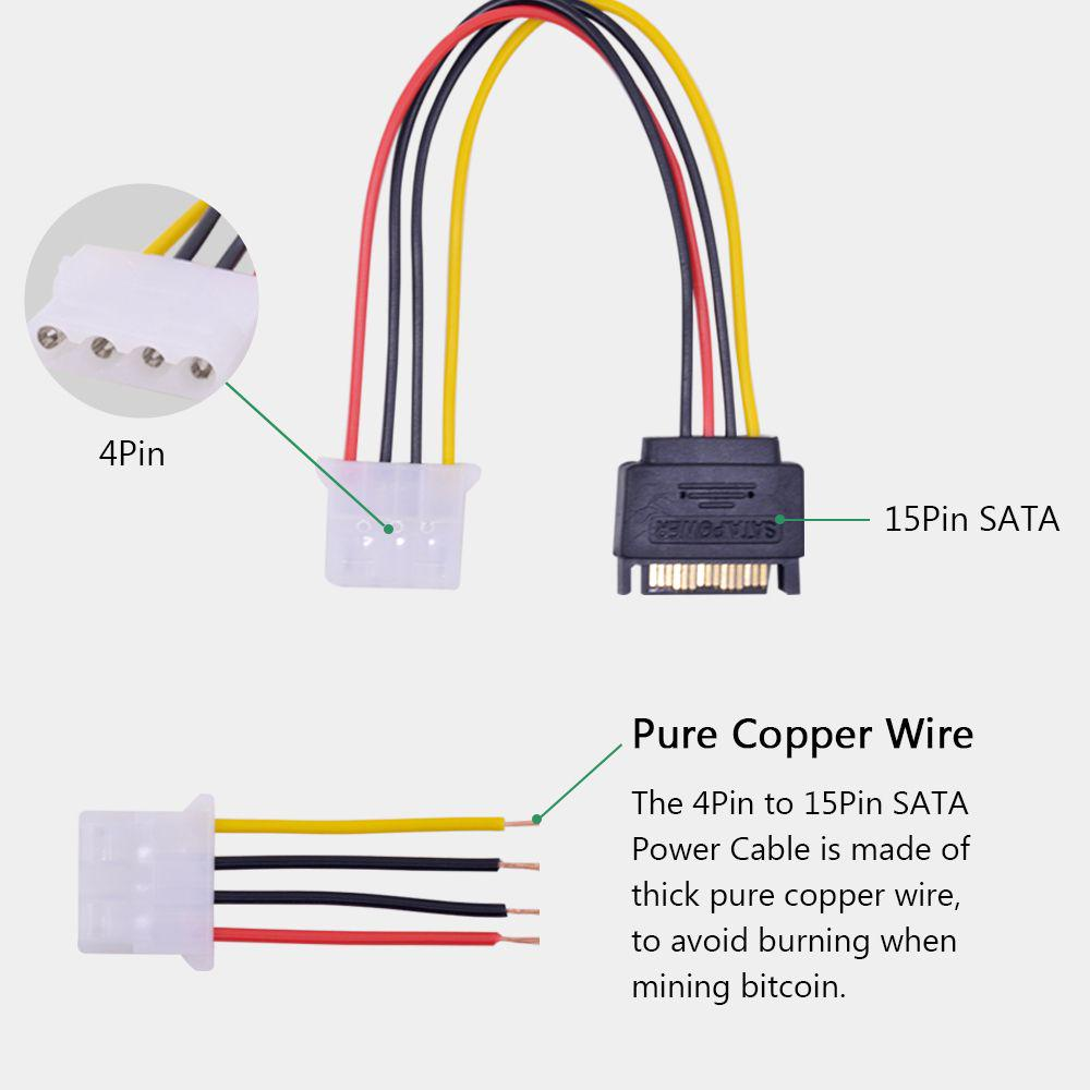 1x To 16x Computer Sata 4pin Ide Molex Pci E Riser Card Usb 30 Signal And Power Adapter Cable One Combo Connect 1 Of 10