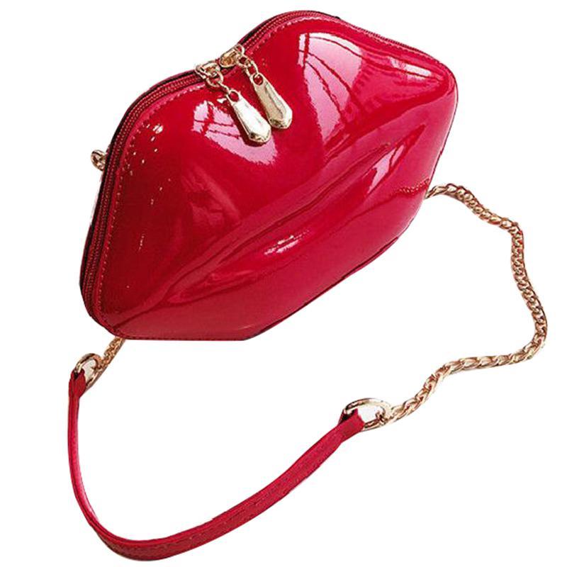 New Women Red Lip Clutch Chain Handbag Faux PU Leather Shoulder Messenger Bag J