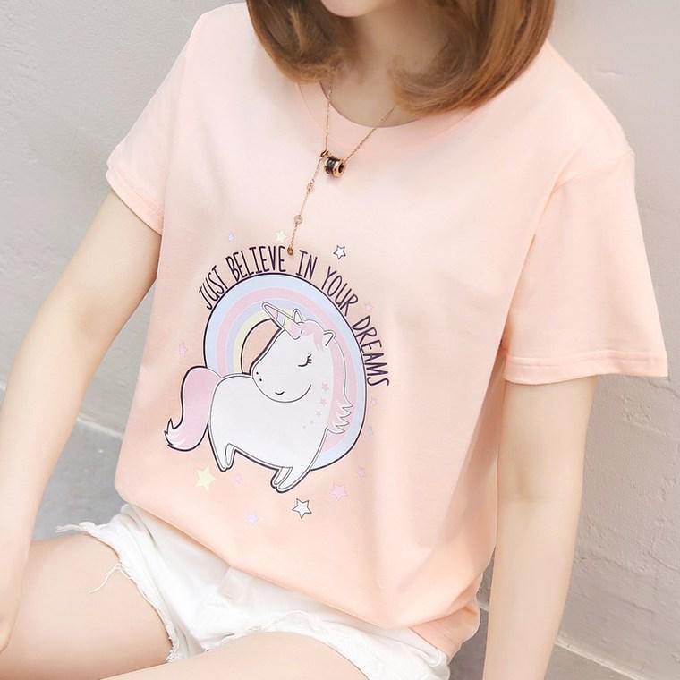 Sommer Damenmode T-Shirt Einhorn Japan Harajuku Stil Kurzarm Rundhals Freizeit