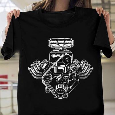 Car Engine Motor T-Shirt American Muscle Car Pistons Tee Shirt Gift FOr