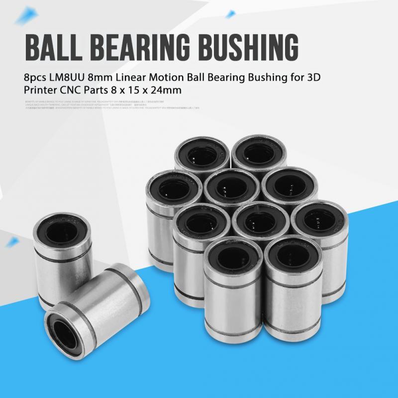 2 Pcs LM8UU Long Type Square Flange Linear Bearing Ball Bushing Motion 8mm