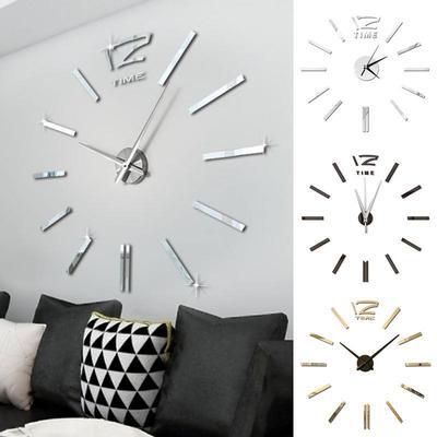 Antique Mini DIY Mirror Surface Clock Sticker Mute Wall Clock 3D Wall Watch Living Room Home Office