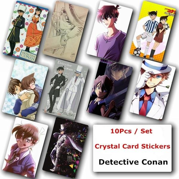 10Pcs//Set Japanese Anime Detective Conan Poster Photo Crystal Card Stickers