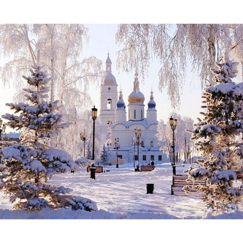 2 Pack DIY Oil Painting Paint by Numbers Kits for Adult Paint Color According to The Numbers on The Canvas 16x20 inch Drawing with Brushes Christmas Decor Without Frame Castle + Flower Forest