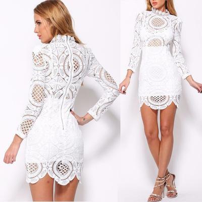 7a1a49268df Волны подол короткой крючком платье длинные белые кружева лето элегантные  дамы кружева выдалбливают платья