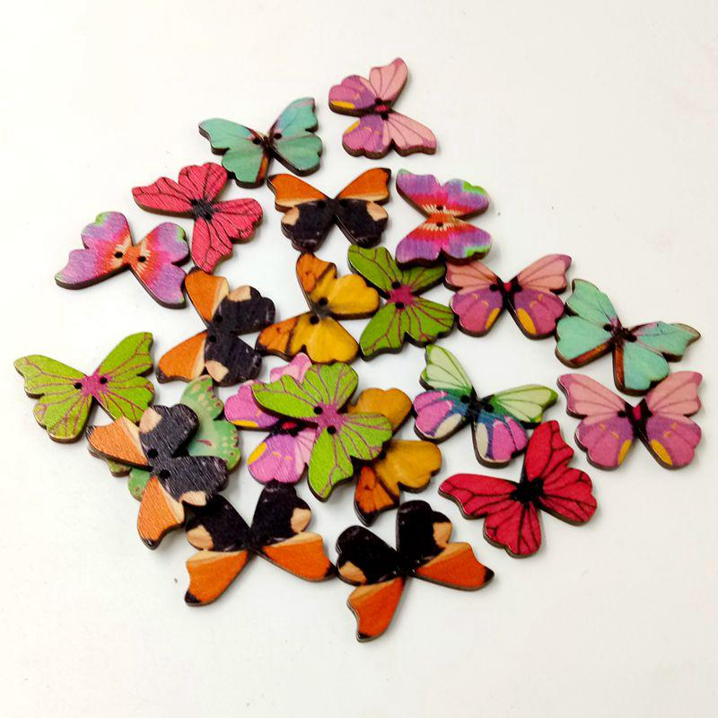 Butterfly 10 x 2-Hole Printed Wooden Buttons 28mm Various Designs