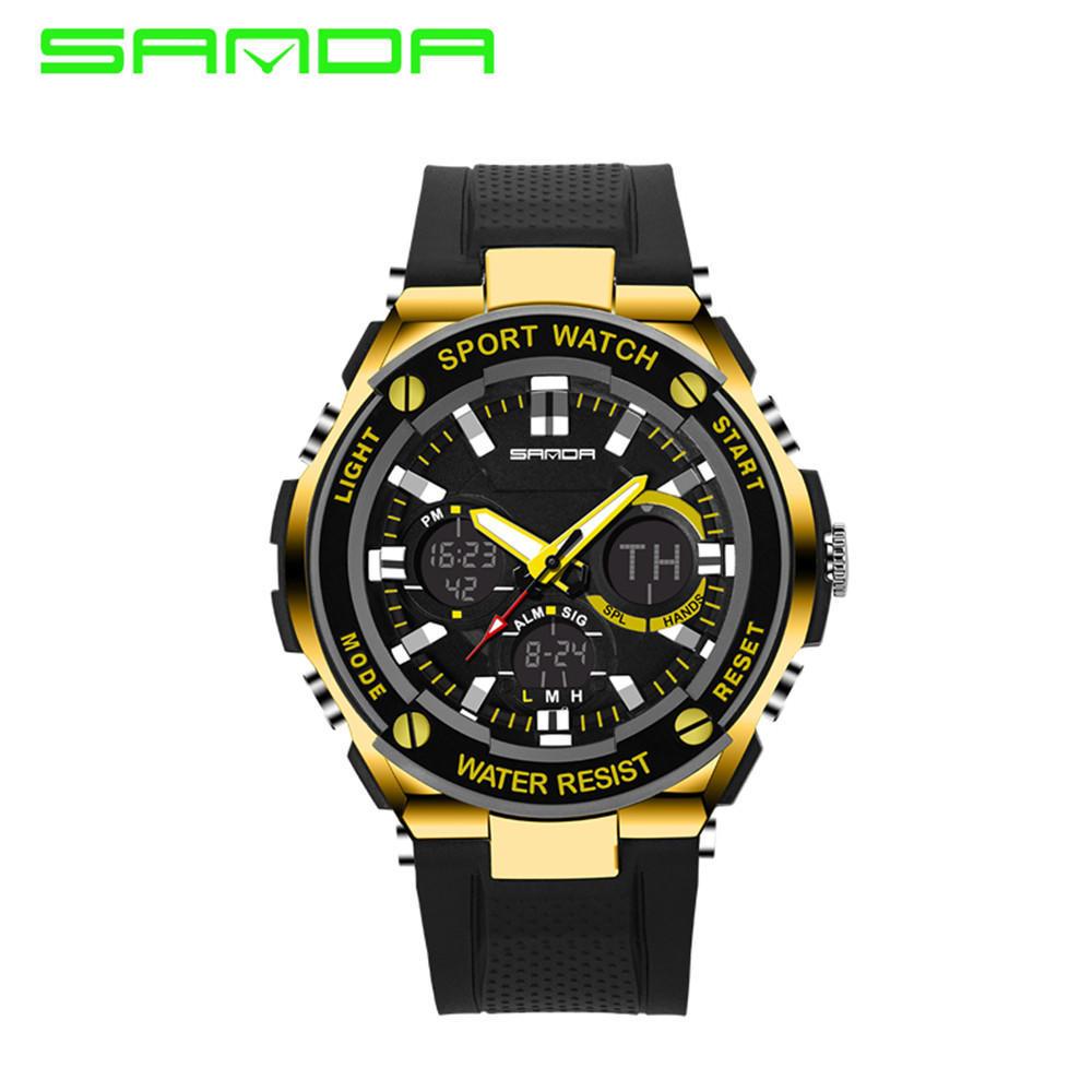 Мужские ohsen унисекс sport водонепроницаемый lcd сигнализации дата военные резиновые цифровые часы