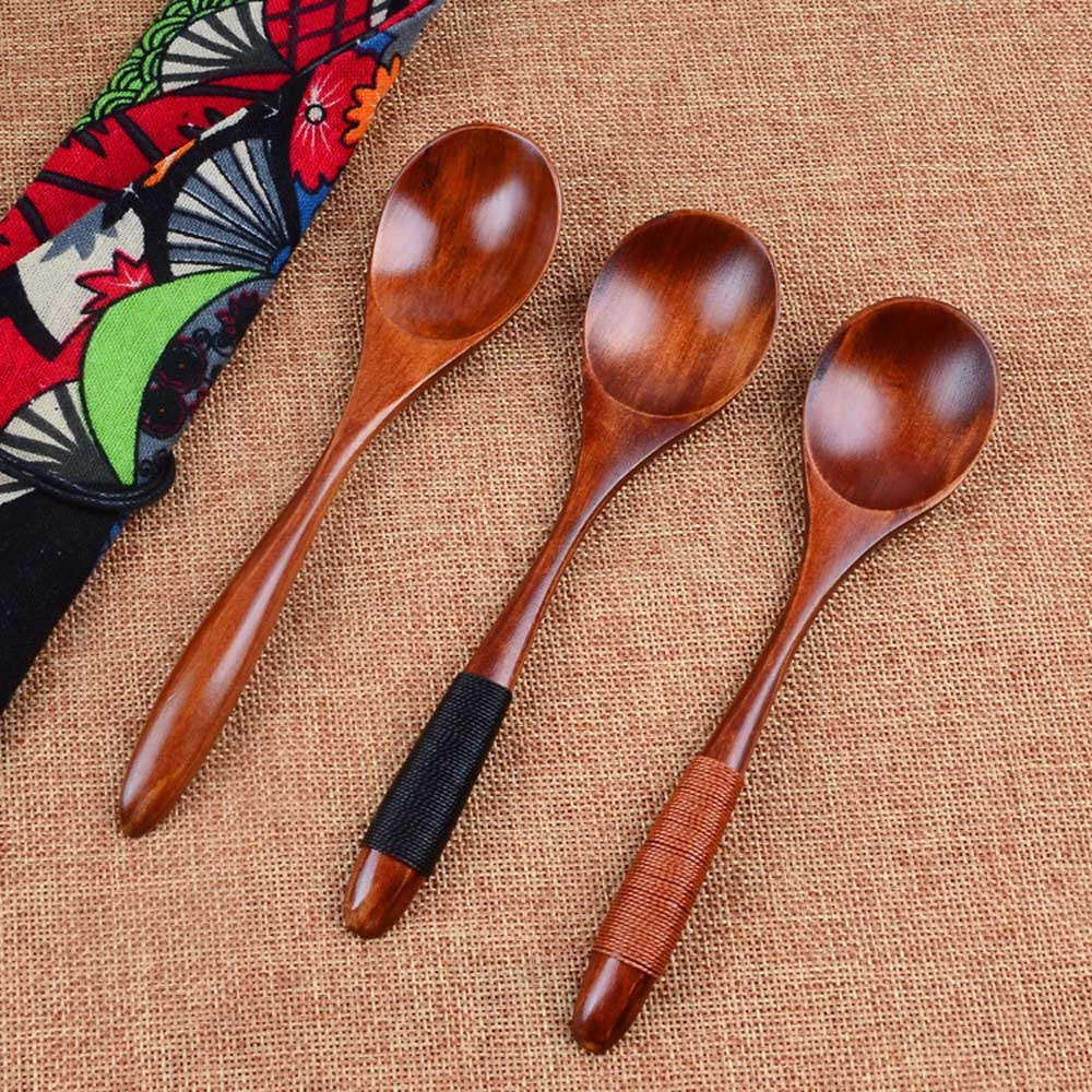 5 pcs Bamboo Wooden Spoon Kitchen Cooking Utensil Soup Teaspoon Catering New Hot