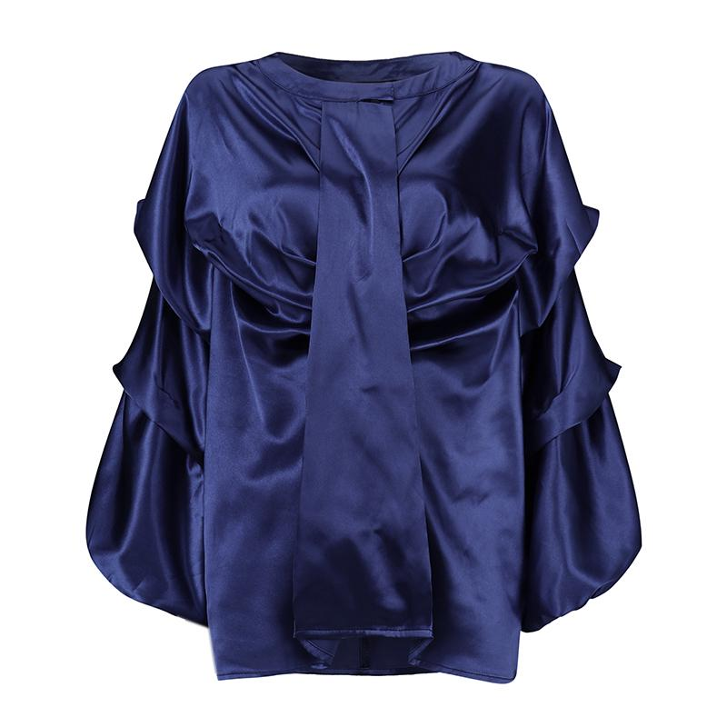 ZANZEA Womens V Neck Tie Bow Puff Sleeve Blouse Striped Shirt Flare High Low Top