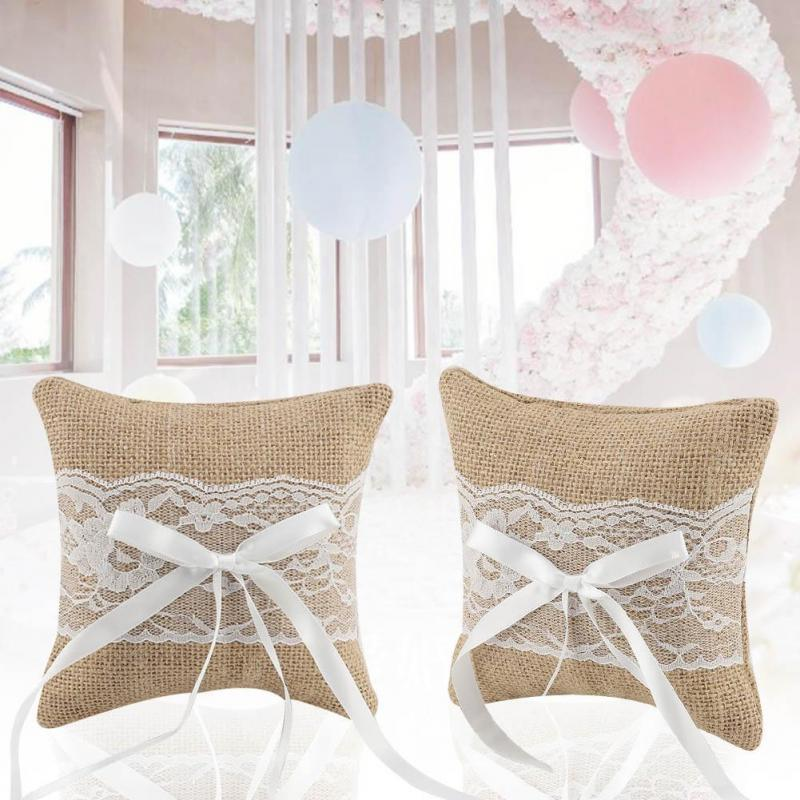Elegant Floral Lace Ring Cushion Bridal Wedding Ceremony Pocket Bearer Pillow Cushion with Ribbon 3 Style Optional Color : 1