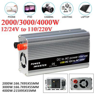 2000W DC 12V to 110V Car Solar Power Converter Car Power Inverter,with 2 AC Outlets /& USB Ports for Household