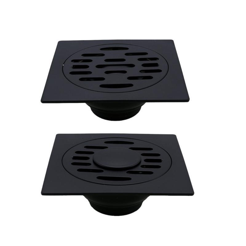 Bathroom Pure Black Square SUS304 Square Floor Drain Shower Waste Water Drainer