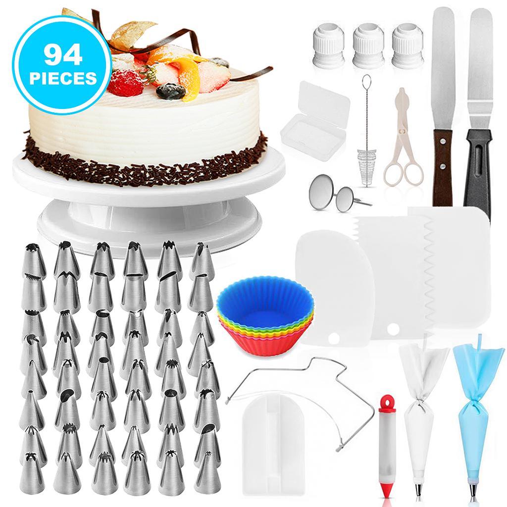 164PCS Cake Decorating Turntable Tools Mould Stainless Spatula Baking Nozzles UK