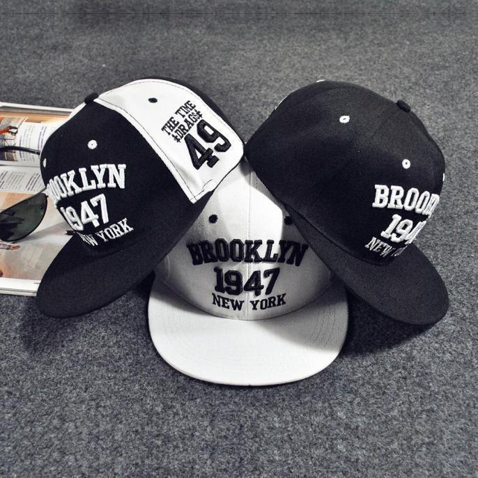 韩版棒球帽1947数字平沿嘻哈帽情侣原宿风街舞韩版遮阳鸭舌太阳帽